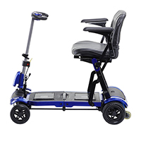 ZooMe Flex Ultra Compact Folding Travel 4 Wheel Scooter, Blue